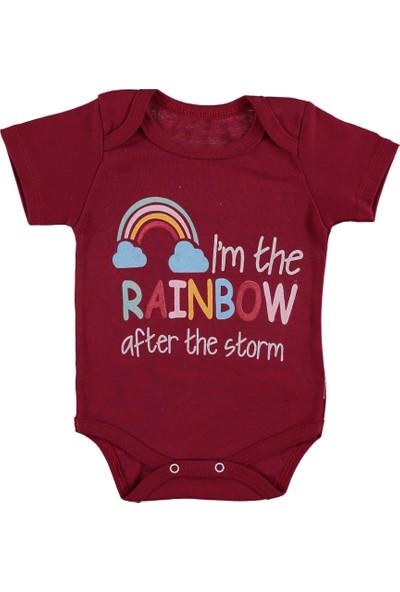 Destino Bebek Penye Rainbow Baskılı Çıtçıtlı Body Bordo 15 Ay