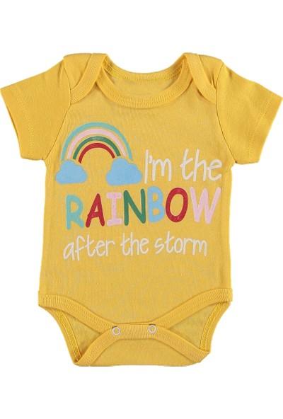 Destino Bebek Penye Rainbow Baskılı Çıtçıtlı Body Sarı 36 Ay