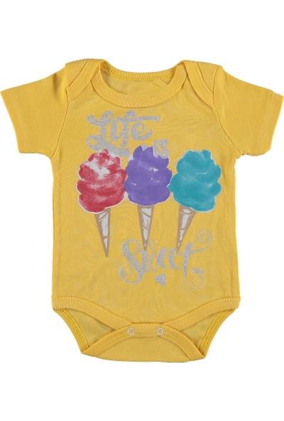 Destino Bebek Penye Dondurma Baskılı Çıtçıtlı Body Sarı 3 - 6 Ay