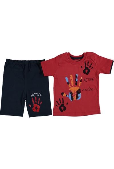 Minikçe Erkek Çocuk Yazlık Active El Baskılı Takım Kırmızı 1 Yaş