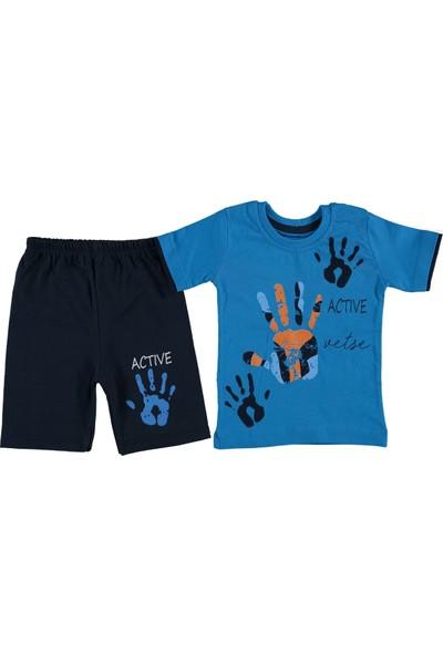 Minikçe Erkek Çocuk Yazlık Active El Baskılı Takım Mavi 1 Yaş