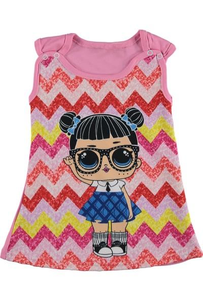 Galia Kız Çocuk Penye Elbise Lol Zikzak Pembe 1 Yaş