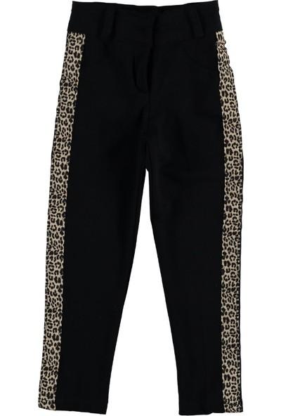 SVT Kız Çocuk Leopar Şeritli Fermuarlı Penye Pantolon 3 Yaş