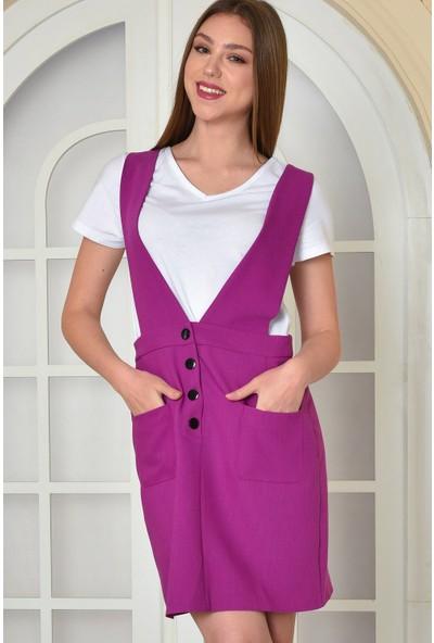Fashion Light Sıklamen Cep Detaylı Salopet Elbise FL0011