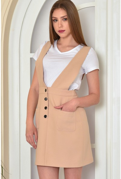 Fashion Light Bej Cep Detaylı Salopet Elbise FL0011