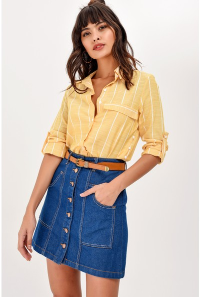 New Laviva Hardal Çizgili Kadın Gömlek