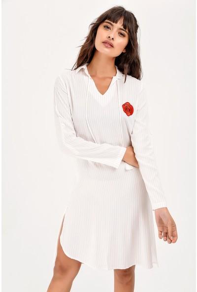New Laviva Pudra Çizgili Uzun Kollu Kadın Cizgili Gül Nakışlı Elbise