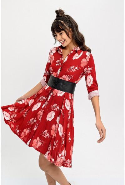 New Laviva Bordo Desenli Uzun Kollu Kadın Elbise