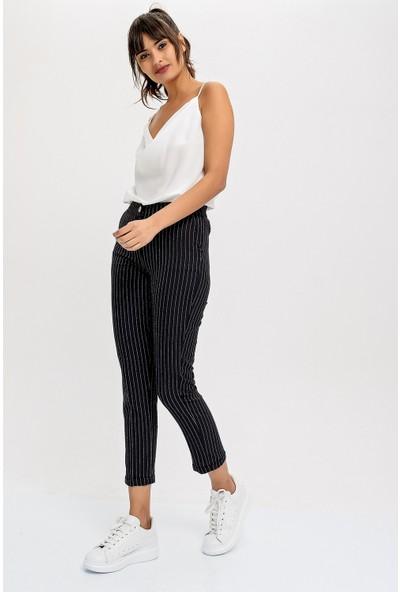 New Laviva Siyah Kısa Paça Kadın Kumaş Pantolon