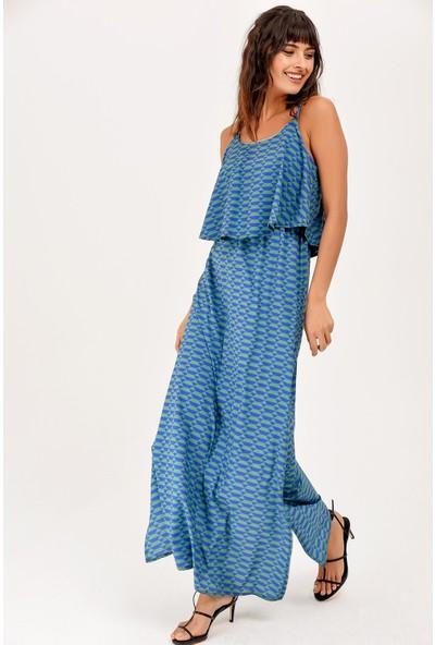 New Laviva Yeşil Askılı Yırtmaçlı Yazlık Kadın Elbise