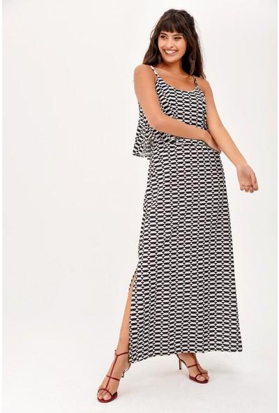 New Laviva Ekru Askılı Yırtmaçlı Yazlık Kadın Elbise