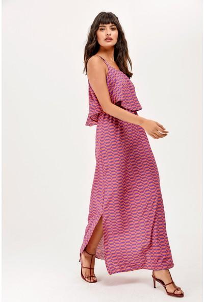 New Laviva Turuncu Askılı Yırtmaçlı Yazlık Kadın Elbise