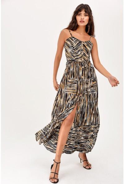 New Laviva Hardal Askılı Düğmeli Desenli Kadın Elbise