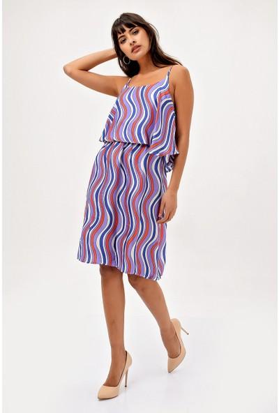 New Laviva Lila Askılı Desenli Diz Boyu Kadın Elbise