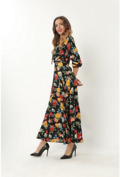New Laviva Siyah Desenli Uzun Kollu Gömlek Kadın Elbise