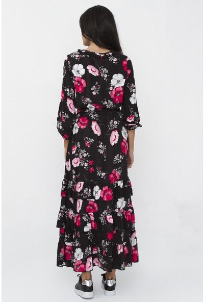 New Laviva Siyah Desenli Uzun Kadın Elbise