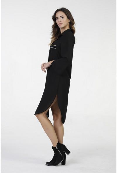 New Laviva Siyah Asimetrik Kadın Elbise