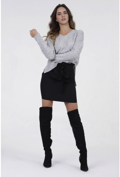 New Laviva Lacivert Bağcıklı Mini Kadın Etek