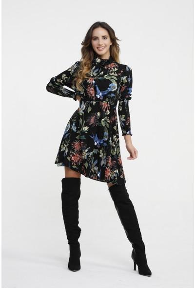New Laviva Siyah Desenli Mini Kadın Elbise