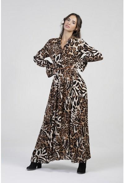 New Laviva Leopar Leopar Desenli Uzun Kollu Uzun Kadın Elbise