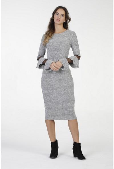 New Laviva Gri Diz Altı Kollar Tül Detaylı Kadın Elbise