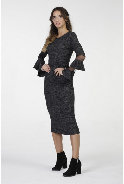 New Laviva Antrasit Diz Altı Kollar Tül Detaylı Kadın Elbise