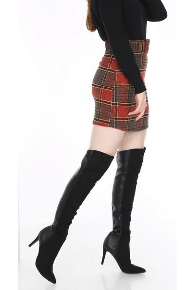 New Laviva Kırmızı Ekose Mini Kadın Etek