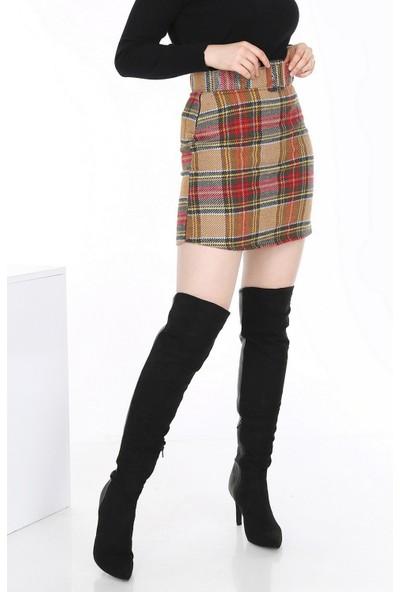 New Laviva Hardal Ekose Mini Kadın Etek