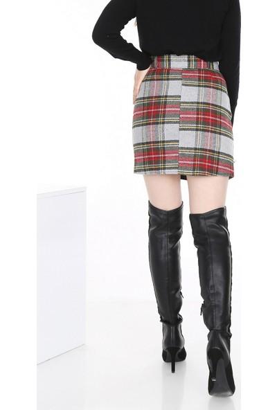 New Laviva Gri Ekose Mini Kadın Etek