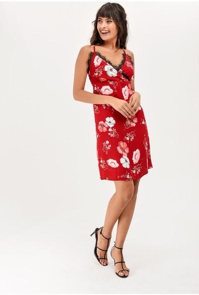 New Laviva Bordo Askılı Desenli Diz Boyu Kadın Elbise
