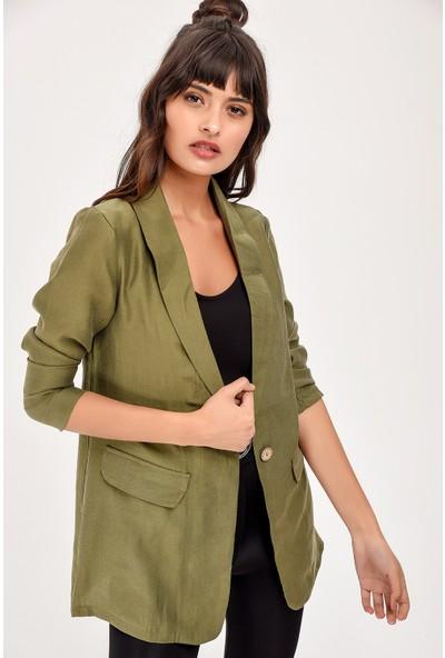 New Laviva Haki Uzun Kollu Kadın Ceket