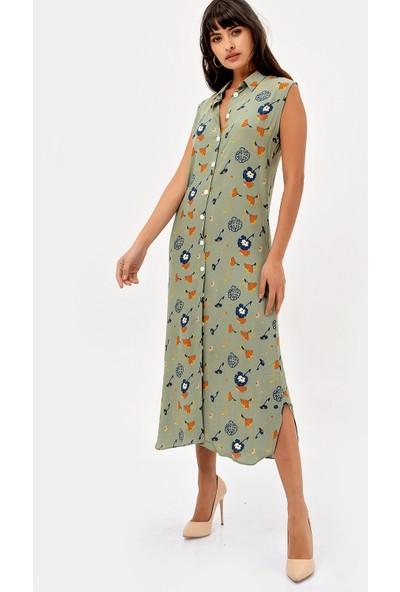 New Laviva Haki Kolsuz Desenli Gömlek Kadın Elbise