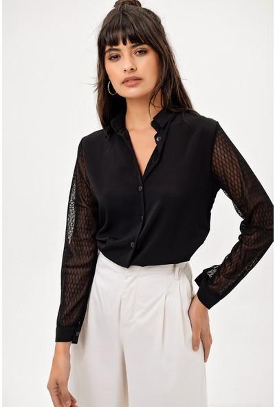 New Laviva Siyah Kol Detaylı Kadın Gömlek