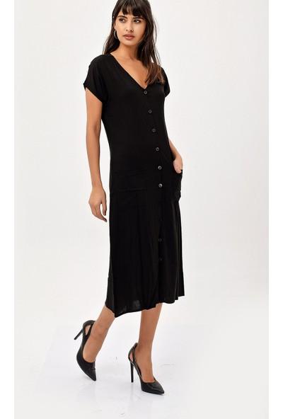 New Laviva Siyah Kısa Kollu Düğmeli Uzun Kadın Elbise