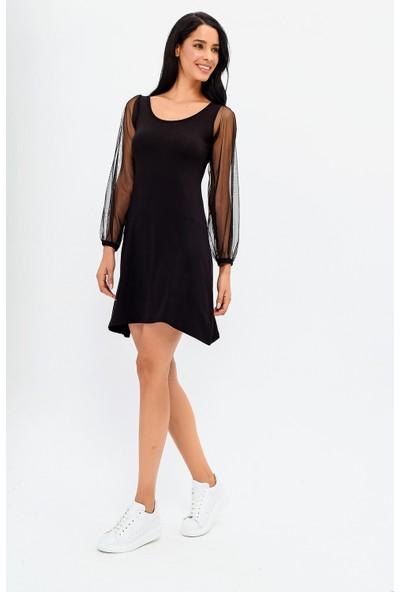 New Laviva Siyah Kol Detaylı Kadın Elbise