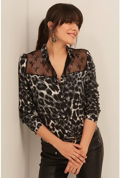New Laviva Siyah Leopar Desenli Kadın Gömlek