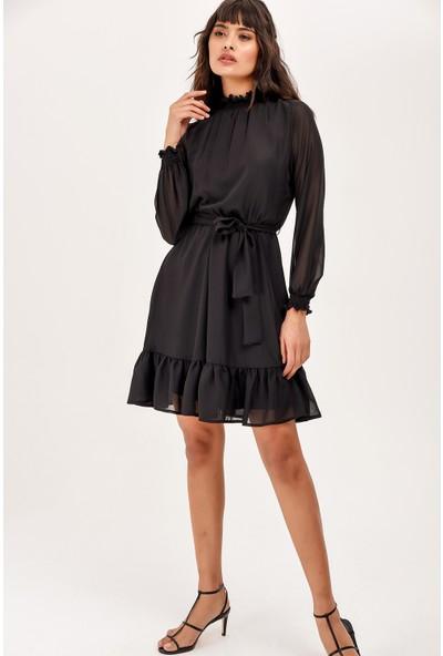 New Laviva Siyah Uzun Kol Diz Üzeri Kadın Elbise