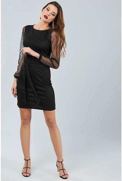 New Laviva Siyah Tül Garnili Mini Kadın Elbise