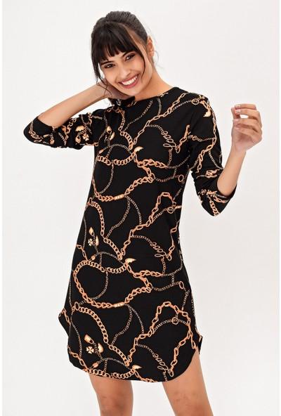New Laviva Siyah Zincir Desenli Mini Kadın Elbise