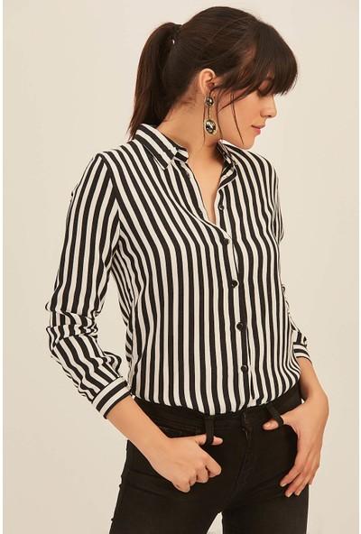 New Laviva Siyah Çizgili Kadın Gömlek