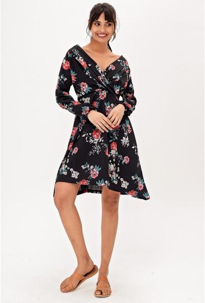 New Laviva Siyah Desenli Diz Boyu Kadın Elbise