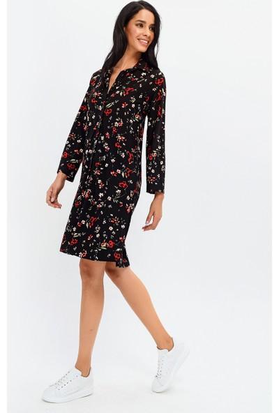 New Laviva Siyah Çiçek Desenli Gömlek Kadın Elbise