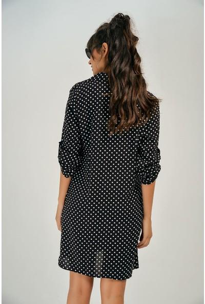 New Laviva Siyah Puantiye Mini Gömlek Kadın Elbise