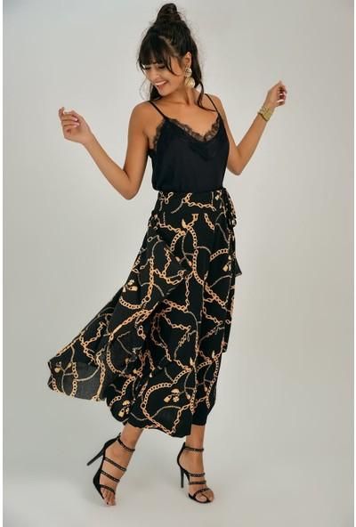 New Laviva Siyah Zincir Desenli Kadın Etek