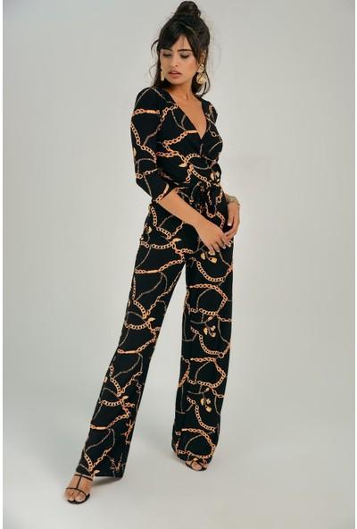 New Laviva Siyah Zincir Desenli Kadın Tulum