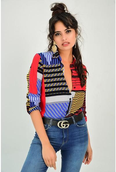 New Laviva Çok Renkli Desenli Kadın Gömlek