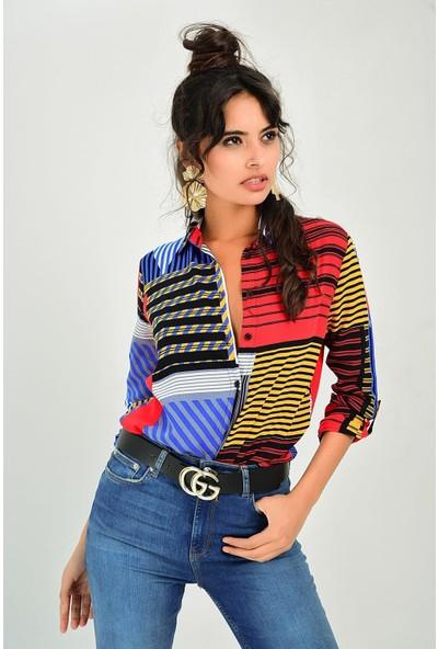 New Laviva Desenli Uzun Kollu Çok Renkli Kadın Gömlek