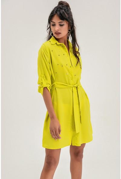 New Laviva Yeşil Kuşaklı Diz Üzeri Kadın Elbise