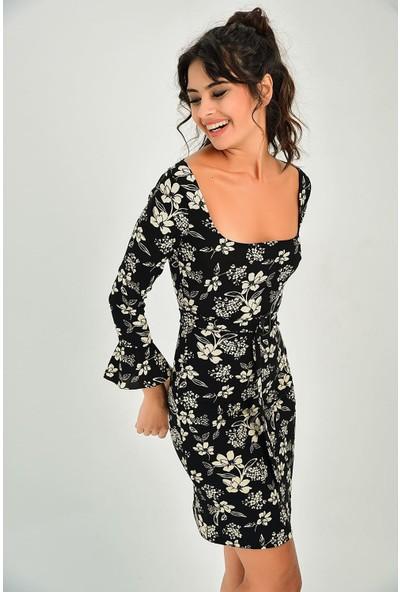 New Laviva Siyah Desenli Kare Yaka Kadın Elbise