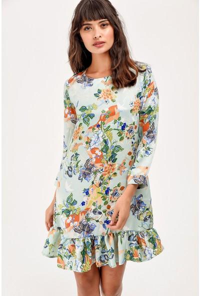 New Laviva Mint Desenli Etek Ucu Fırfırlı Kadın Elbise